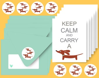 Dachshund Cards - Set of 6 - Keep Calm and Carry a Doxie in Aqua - Dog Stationery