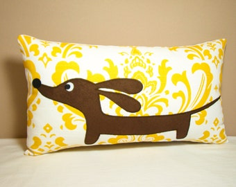 Doxie Dachshund Dog Pillow - Doxie in the Sunny Damask Garden - Traditional Decor - Yellow White Home