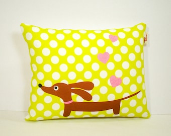 Dachshund Wiener Dog Pillow - Love a Doxie Lemon Lime Dot - Dog Home Decor