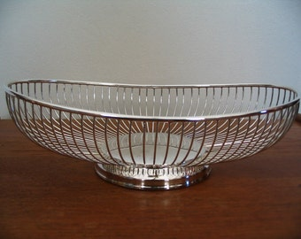 Oval Silverplate Curving Wire Cage Bread Basket
