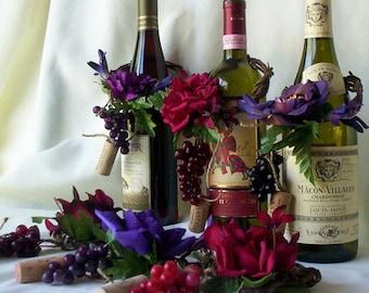 Wedding Centerpieces AmoreBride Wine Bottle toppers set of 4 Purple, Burgundy, Sangria Vineyard bridal accessories reception grape decor