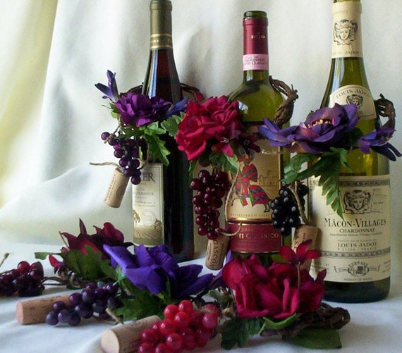 Items similar to wedding centerpieces amorebride wine bottle toppers set of 4 purple burgundy - The splendid transformation of a vineyard in burgundy ...