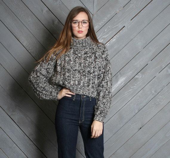 1980s TURTLENECK SWEATER / Chunky Marled Knit Cropped Pullover, xs-m