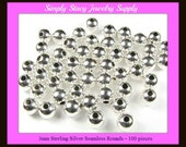 3mm Sterling Silver Seamless Round Spacer Beads - Package of 100