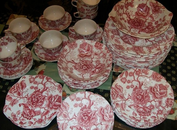 Reserved Johnson Bros Red Chippendale China Dinnerware Set