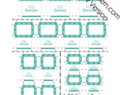 Printable PDF File - Dollhouse Miniature Donut Boxes - Turquoise