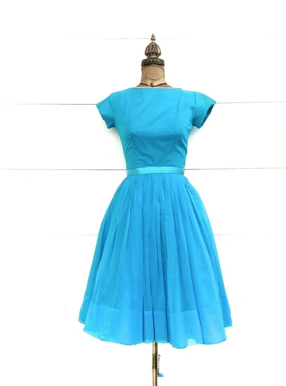 Vintage 1950s Party Dress Blue with Rhinestone Trim and Tulle Underskirt