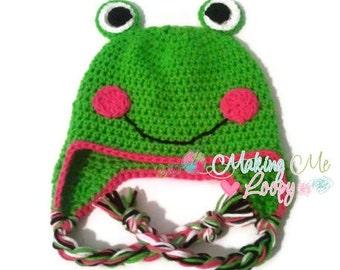 Crochet Girly Frog Earflap Hat