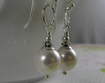 White Pearl Earrings, Bridal Jewelry, Sterling Silver Earrings