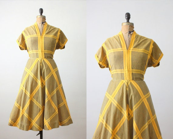 1950s dress - yellow plaid party dress