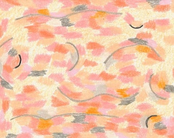 Odallisque-Homage to Manet, digital print, abstract, female, feminine, curves, erotic, pink, orange