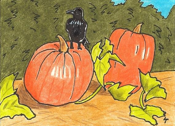 Halloween Crow, Print, Halloween, Crow, Pumpkins, Orange, colored pencil, ACEO, 7 Card Draw