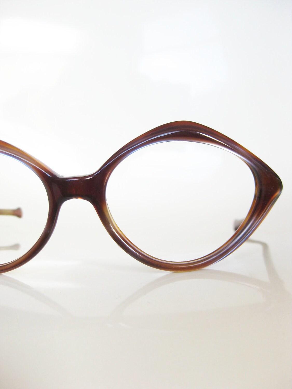 vintage mod 1960s eyeglasses sunglasses tortoiseshell brown