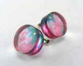 Summer Allium Bright Pink Flower Earring Studs