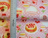 Pink polka dots with teapot and cake fabric from Cosmo japan - Half Yard