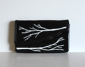 VINTAGE black convertible PURSE with hand painted branches - Grow