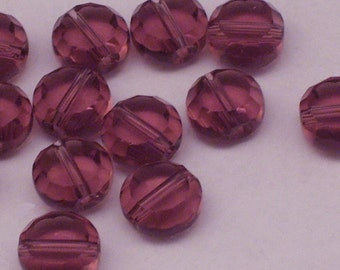16 10mm Purple Czech Glass Coin Beads // Translucent Flat Round Beads // Faceted Flat Coin Beads