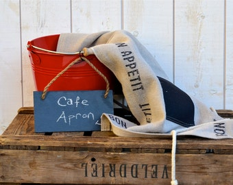 Ready to ship // Cafe Apron BON APPETIT BLACK French country  Linen / shabby chic kitchen