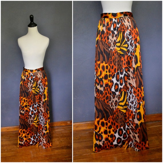 1970s Silky Animal Print Maxi Skirt / size small to medium