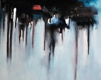 "Original Abstract Painting Dark Color Art, 12x12"""