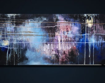 "Rain 35 original modern abstract painting - LARGE 16x47"" UNSTRETCHED Rolled in a tube"