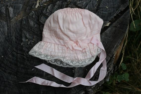 Vintage Pink Baby Bonnet with Lace Trim