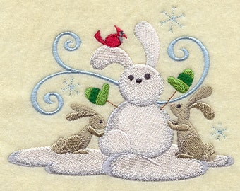 Build-a-Snowpal Bunnies Embroidered Terry Kitchen Towel  Bathroom Hand Towel