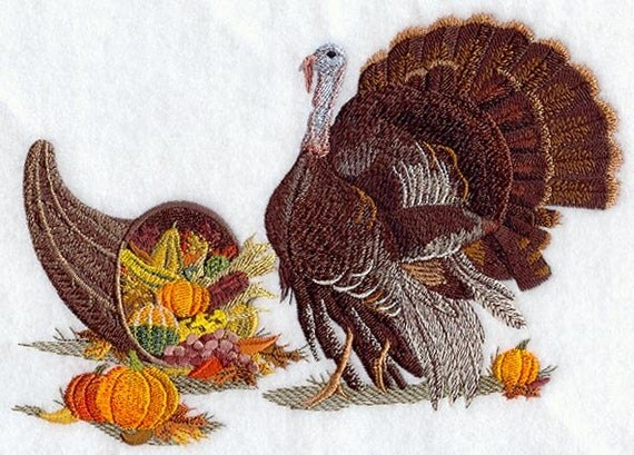 Thanksgiving Bounty - Embroidered Terry Kitchen Towel Bathroom Hand Towel