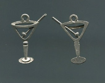 Pewter Martini Glass Charm (Set of 2)
