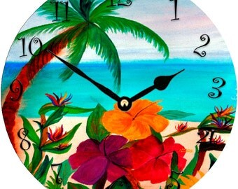 Tropical Floral Beach wall clock from my original painting