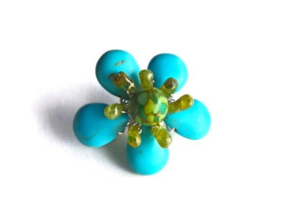 Wire wrap flower pin, blue green gemstone flower brooch, mosaic turquoise peridot bead flower jewelry, silver