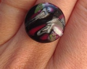 Abstract polymer clay ring - black, pink, green and pearl