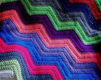 new chevron zig zag baby blanket afghan wrap crochet knit lap robe wheelchair ripple stripes VANNA WHITE yarn multi color made in the USA