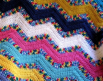 new chevron zig zag baby blanket afghan wrap crochet knit lap robe wheelchair ripple stripes VANNA WHITE yarn multi color handmade in USA