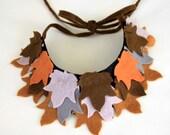 Brown, Grey, Cinnamon, Red Orange, Stone, Autumn Colors, Felt Petit Maple Leaves, Unusual Neck Warmer, Collar