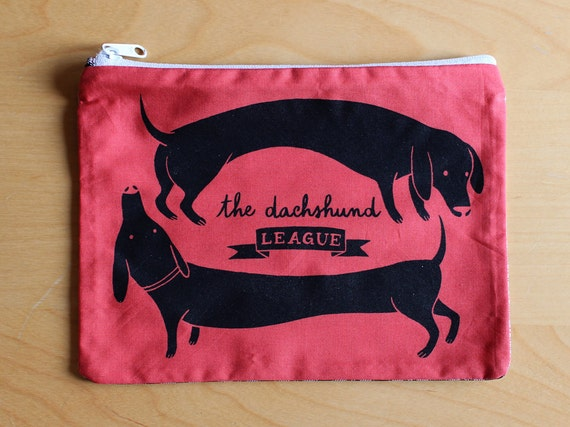 The Dachshund League TWO DOGS Purse / Black on Red silkscreen