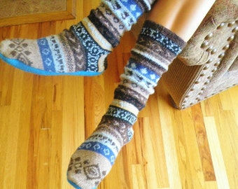 Sweater Slipper Boots and Boot Socks  - Child Large to adult men - pdf Sewing Pattern