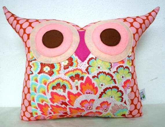 Amy Butler Soul Blossoms fabric owl pillow/Ready to ship