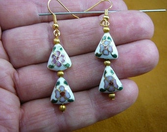 White with pink purple flower 11x13 mm triangle Cloisonne two bead gold dangle earring pair EE-615-2