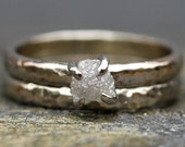 Prong-Set Rough Diamond Engagement Ring and Wedding Band in 10k White or Yellow Gold- Size C Diamonds