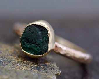 Rough Emerald Ring in 14k Gold- Custom Made in Rose, Yellow, or White Gold
