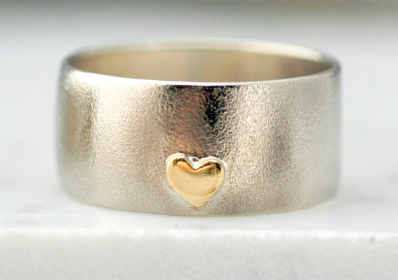 White Gold Wedding Band with Yellow Gold Heart- Custom Made