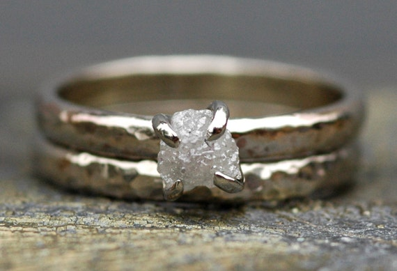 Conflict-Free Rough Diamond Engagement Ring and Wedding Band in 10k White or Yellow Gold- One Carat Size C Diamonds