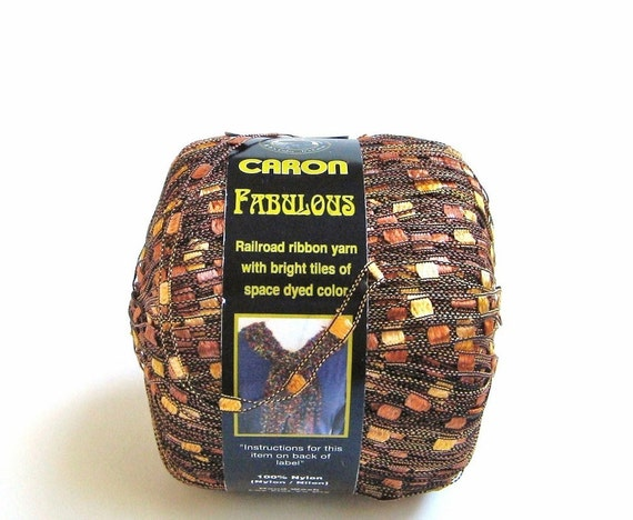 Caron Fabulous Railroad Ribbon Yarn, 0014 Topaz Copper Brown, Ladder Ribbon Yarn, Nylon Trellis Yarn