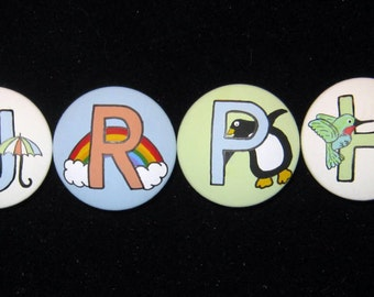 ALPHABET LETTERS - Hand Painted Wooden Knobs Pulls - YOU Pick Letters, Colors & Style - 7.00 each