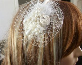 Bridal headband white pearl veil tear drop pearls