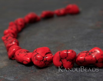 """Red Turquoise Color Magnasite 15-20mm Smooth NUGGET beads 15"""""""