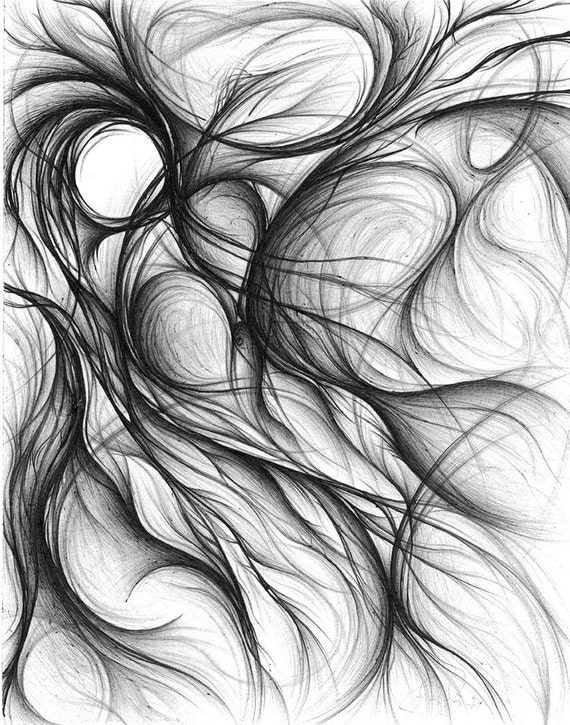 Items Similar To Origin Pen Ink Abstract Drawing On Etsy