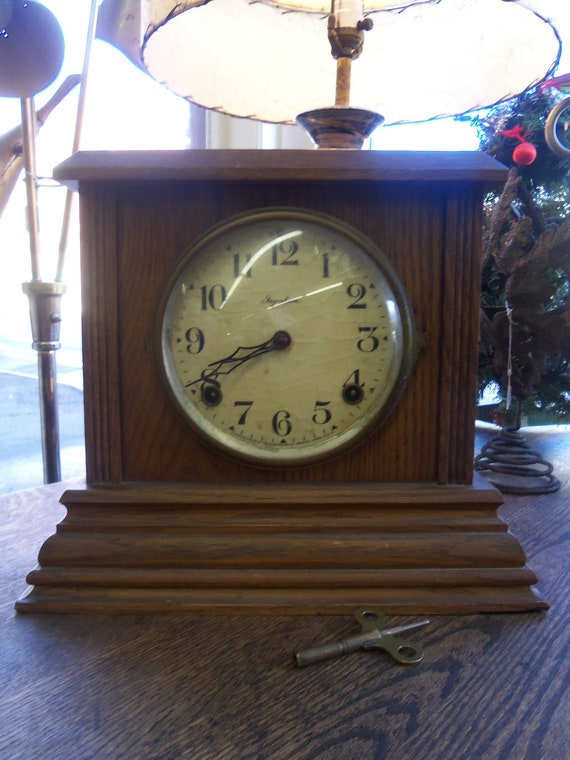 Antique Ingraham Mantle Clock With Key From Rustysecrets