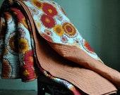 LAST ONE: Mod Marigold Garden Queen/Full Quilt - Red/Orange